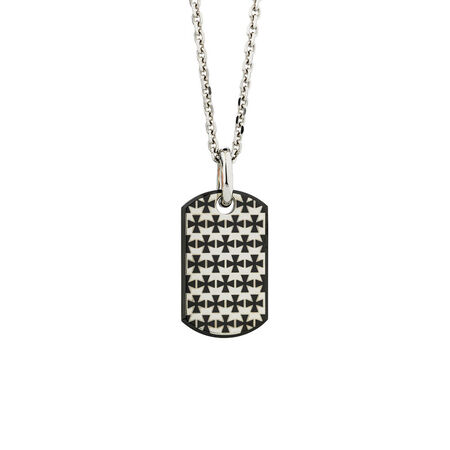 Online Exclusive - Men's Patterned Dog Tag Pendant In Stainless Steel