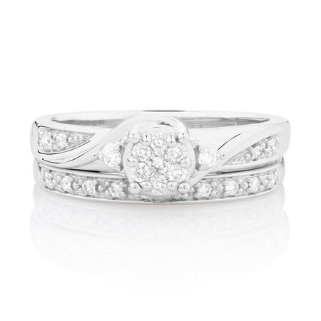 Promises of Love Bridal Set with 1/4 Carat TW of Diamonds in 10kt White Gold