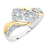 Evermore Engagement Ring with 1/2 Karat TW of Diamonds in 10kt White & Yellow Gold