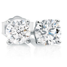 Classic Stud Earrings with 3/4 Carat TW of Diamonds in 14kt White Gold