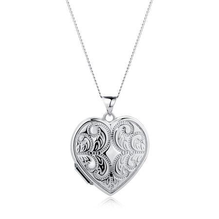 Patterned Heart Locket in Sterling Silver
