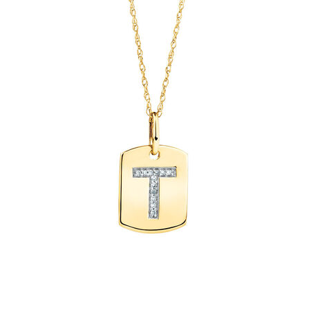 "T"" Initial Rectangular Pendant With Diamonds In 10kt Yellow Gold"