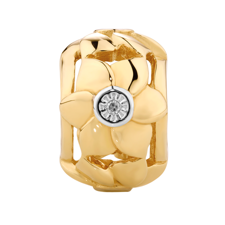 Diamond Set 10kt Yellow Gold Flower Charm