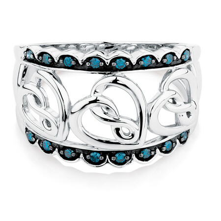 Online Exclusive - Infinitas Ring with 0.15 Carat TW of White & Enhanced Blue Diamonds in Sterling Silver