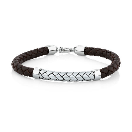 Men's Weave Pattern Bracelet in Brown Leather & 925 Sterling Silver