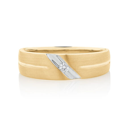 Men's Ring with 1/20 Carat TW Diamonds in 10kt White & Yellow Gold