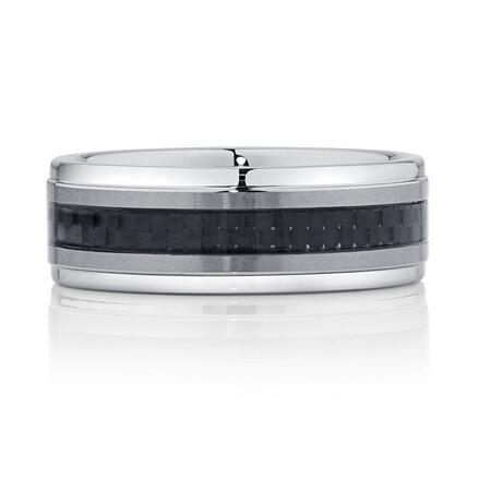 Men's Ring in Carbon Fibre & Gray Tungsten