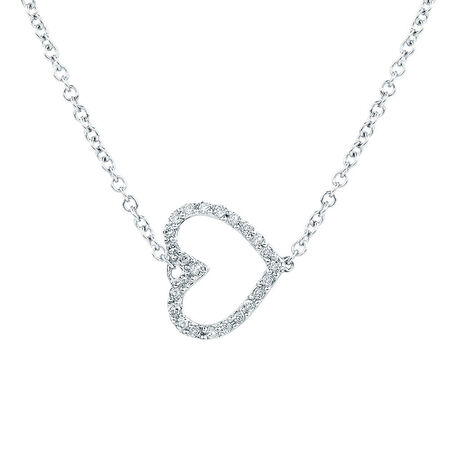 Heart Pendant with 1/15 Carat TW of Diamonds in Sterling Silver