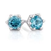 Stud Earrings with Blue Topaz in Sterling Silver