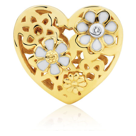 Diamond Set Daisy Heart Charm with Enamel in 10kt Yellow Gold