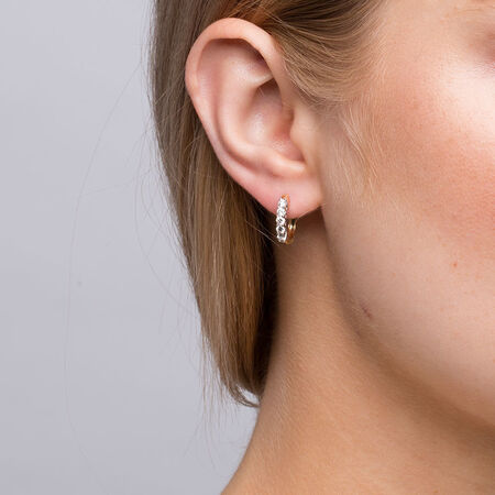 Hoop Earrings with 1/2 Carat TW of Diamonds in 18kt Yellow & White Gold