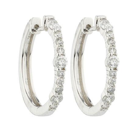 Online Exclusive - Huggie Earrings with 0.46 Carat TW of Diamonds in 10kt White Gold