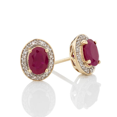 Earrings with Created Ruby & 1/5 Carat TW of Diamonds in 10kt Yellow Gold