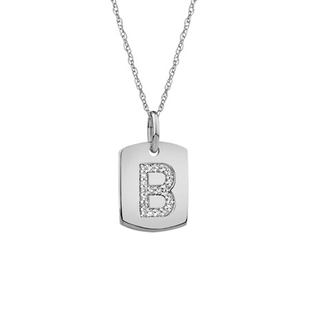 """B"" Initial Rectangular Pendant With Diamonds In 10ct White Gold"