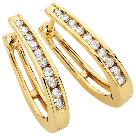 Hoop Earrings with 1/2 Carat TW of Diamonds in 10kt Yellow Gold