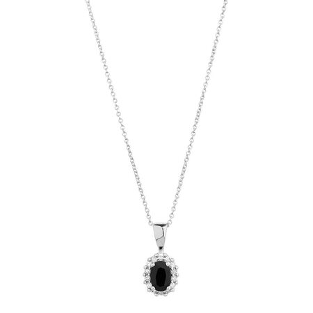 Pendant with Sapphire & Diamonds in 10kt White Gold