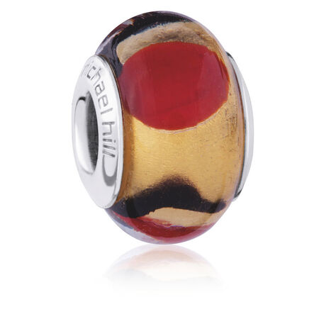 Gold, Red & Black Murano Glass Charm
