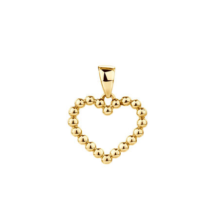 Bubble Heart Pendant in 10kt Yellow Gold