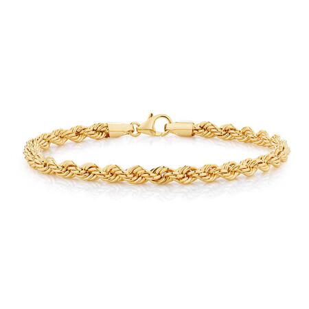 "17cm (6.5"") Rope Bracelet in 10kt Yellow Gold"