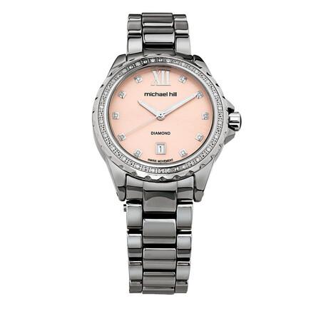 Ladies Watch With Diamonds in Grey Ceramic
