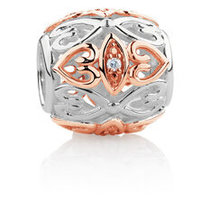 Diamond Set Barrel Charm in Sterling Silver & 10kt Rose Gold