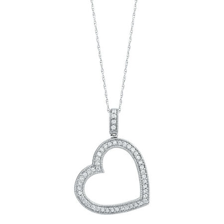 Online Exclusive - Heart Pendant with 0.35 Carat TW of Diamonds in 10kt White Gold