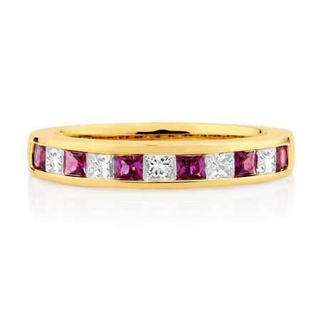 Ring with Ruby & 3/8 Carat TW of Diamonds in 10kt Yellow Gold