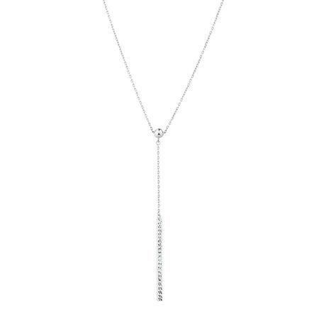 Adjustable Bar Necklace in 10kt White Gold