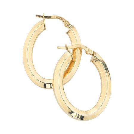 Online Exclusive - Oval Hoop Earrings in 10kt Yellow Gold