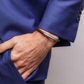 Weave Pattern Bracelet in Brown Leather & 925 Sterling Silver