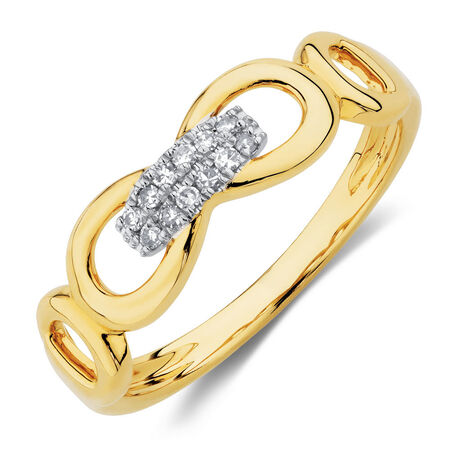 Link Ring with 1/15 Carat TW of Diamonds in 10kt Yellow Gold