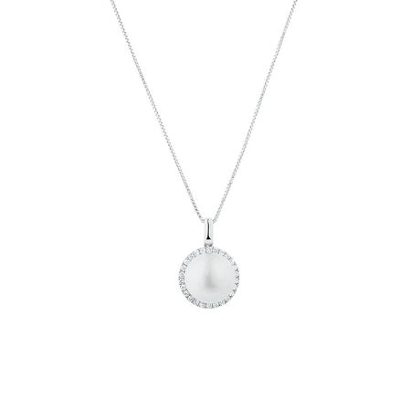 Pendant with 1/5 Carat TW of Diamonds & a Cultured Freshwater Pearl in 10kt White Gold