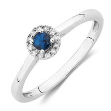 Promise Ring with Sapphire & Diamonds in 10kt White Gold