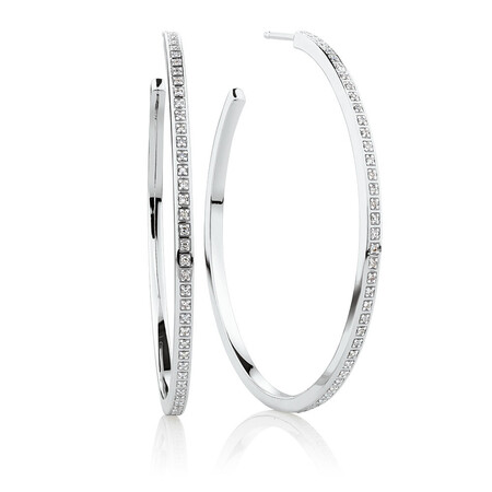 Large Hoop Earrings With 0.20 TW of Diamonds In Sterling Silver