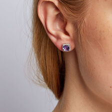 Stud Earrings with Amethyst & 1/6 Carat TW of Diamonds in 10kt White Gold
