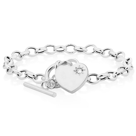 "19cm (7.5"") Rolo Bracelet with Cubic Zirconia in Sterling Silver"