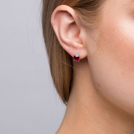 Online Exclusive - Stud Earrings with Created Ruby & Diamonds in 10kt White Gold