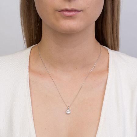 Pendant with Aquamarine & Diamond in 10kt White Gold