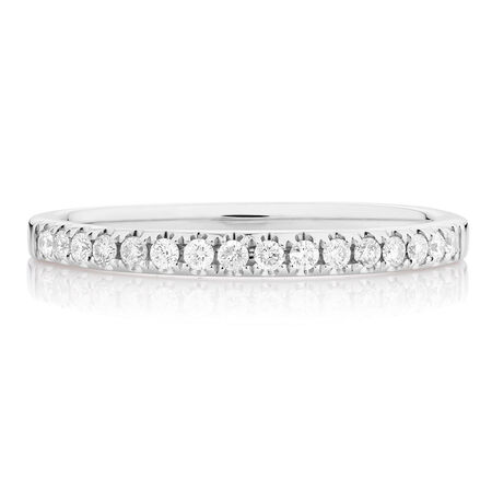 Wedding Band with 1/5 TW of Diamonds in 14kt White Gold
