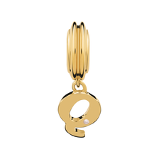 Diamond Set & 10kt Yellow Gold 'Q' Charm