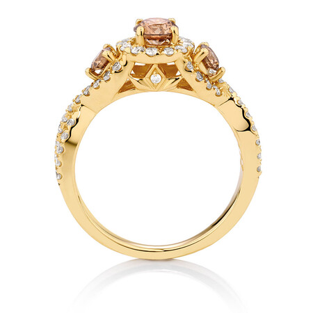 Engagement Ring with 1.23 Carat TW of Champagne & White Diamonds in 14ct Yellow Gold