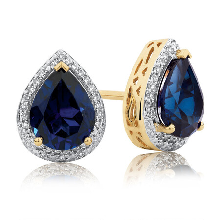 Earrings with Created Sapphire & 1/6 Carat TW of Diamonds in 10kt Yellow Gold