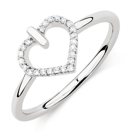 Heart Ring with Diamonds in Sterling Silver