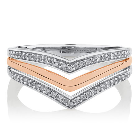 Ring with 1/6 Carat TW of Diamonds in 10kt White and Rose Gold