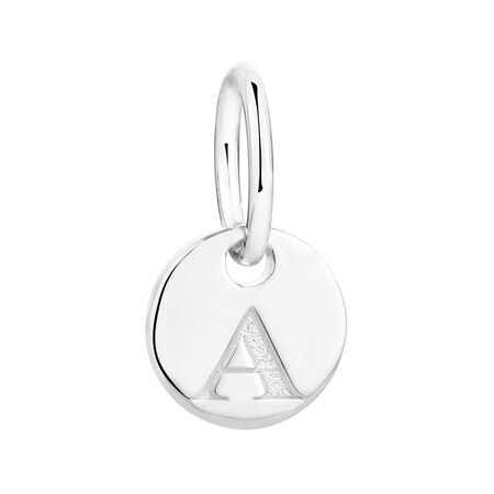 """""""A"""" Initial Mini Pendant in Sterling Silver"""