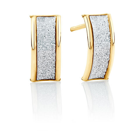 Glitter Band Stud Earrings in 10kt Yellow Gold