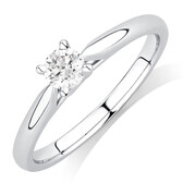 Evermore Solitaire Engagement Ring with a 1/3 Carat Diamond in 14kt White Gold