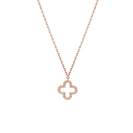 4 Leaf Clover Pendant With Diamonds In 10kt Rose Gold