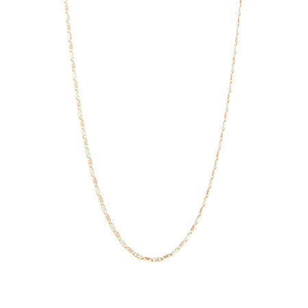 "50cm (20"") Solid Chain in 10kt Yellow, Rose & White Gold"