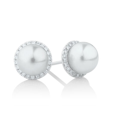 Earrings with 1/4 Carat TW of Diamonds & a Cultured Freshwater Pearl in 10kt White Gold